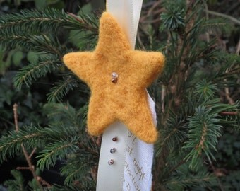 Yellow Star Felt Christmas Decoration