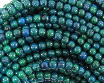 "6mm blue green chrysocolla round beads 15.5"" strand"