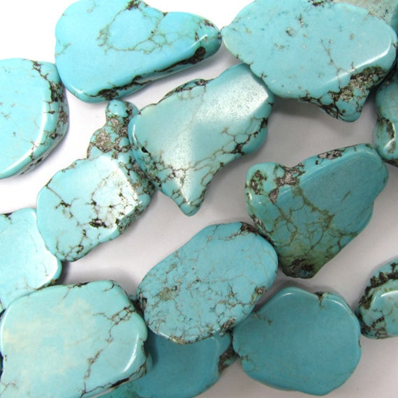 "20-26mm blue turquoise freeform slab nugget beads 15.5"" strand 34809"
