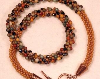 Kumihimo necklace, grape
