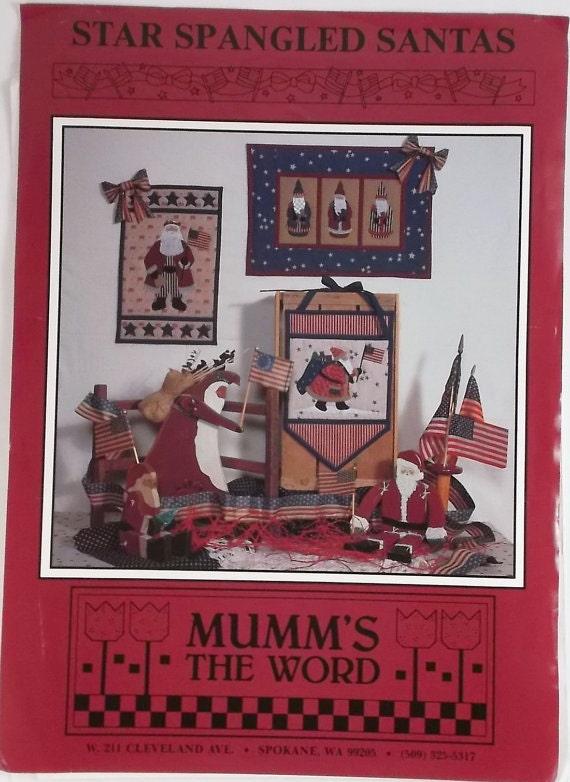 Vintage Pattern Star Spangled Santa Pattern Mumms The Word Patriotic Santas Christmas Decorations Holiday Craft Decor Destash Supply