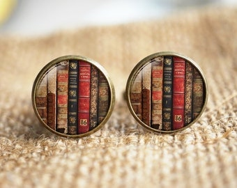 Old Books Cuff Links ,Mens Accessories, bookshelf Cuff links, book posts, Glass dome book Cuff Links