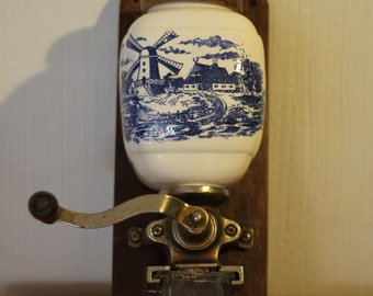 Antique coffee grinder with dutch landscape / windmill / kitchen decor / blue and white /
