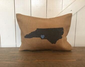 State pillow, Burlap pillow