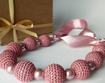 Pink ash crochet necklace. Bridal jewelry. Crochet jewelry. Bridesmaid jewelry. Necklace on ribbon. Motherdays gift