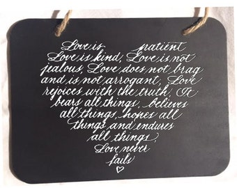 Love is Patient Chalkboard Sign