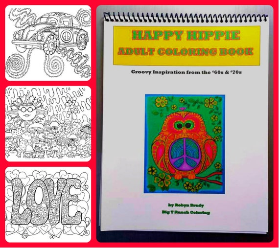 Adult coloring book hippie spiral bound cardstock adult Coloring books for adults spiral bound
