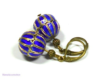 Cloisonne earrings vintage * cloisonne Oriental in blue * earrings-bronze