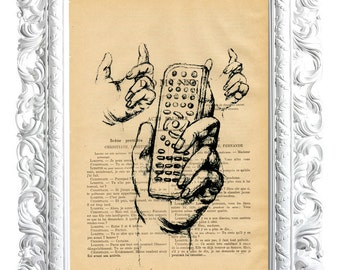 Hand control. Print on French publication of illustration. 28x19cm.