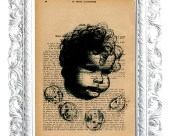 CHILD AND 4 FACES. Print on French publication of illustration. 28x19cm.