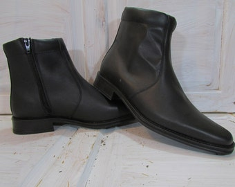 Vintage Leather Boots/ Vintage Black Boots/ Mens Leather Boots/ Vintage Black Ankle Boots/ Black Real Leather Boots