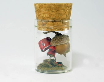 TinyLand #22 ~Red Robot~ Miniature bottle,Miniature in the bottle,Glass Bottle, nature bottle,Tiny robot