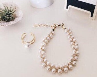 Beads pearl bracelet,wedding,bridal