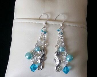 Seahorse charm sterling silver drop earrings
