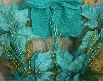 Teal blue and green Christmas wreath