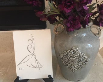 Original One-of-a-kind Ballerina Charcoal Drawing