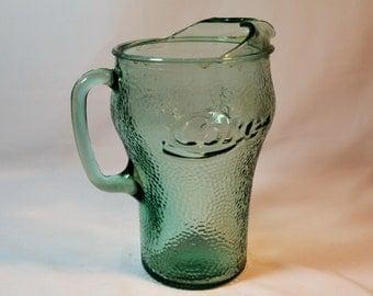 Vintage Coke Pitcher, Coca Cola Glass, Pitcher, Green, 64 oz Pitcher,