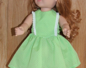 Green dress with lace on bodice