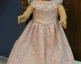 Pink lond dress with ruffle
