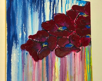 SOLD - Original Abstract Floral Gouache/Acrylic Painting
