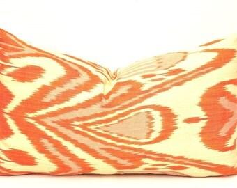 Orange Lumbar Pillows - Orange Ikat pillows - Throw Pillows - Sofa Pillows - Decorative Pillows - My Pillows - Pillow Covers - Body Pillows