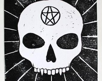 Skull and Pentacle Linocut Print