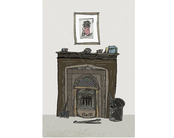 Fireplace - Mini Print / Postcard - Digital Illustration Art Print