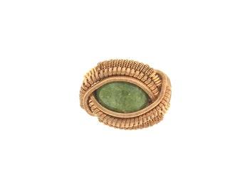 Aventurine Copper Ring Sz 6 3/4