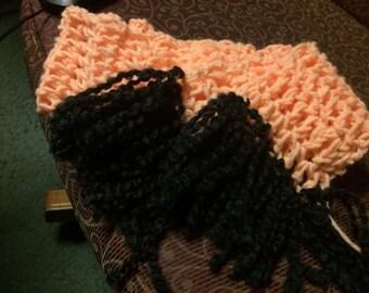Crochet pink/black scarf