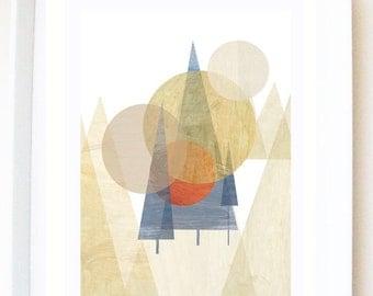 Print of original illustration 'Moonlight forest', mountains, trees, collage, landscape