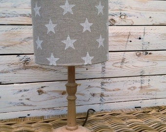 Handmade Stars Lampshade, Clarke and Clarke Linen, Natural Linen, 20cm Drum Shade, Coastal, Country Style, Seaside, Vintage Inspired