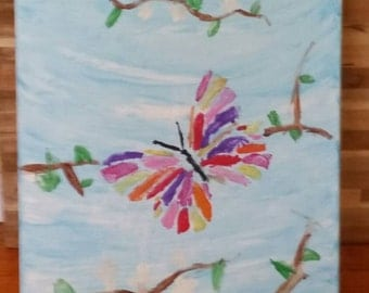 Butterfly Painting,  Butterfly Wall Art, Canvas Art
