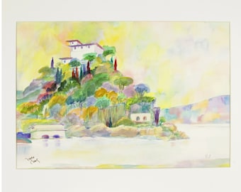 ORIGINAL painting, watercolor, signed, Italian villa, Italy, scenic, water, buildings, gift art, 18x24/mounted 22x28
