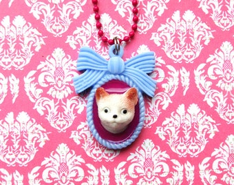 Cat Cameo Necklace - pink blue cute kitten faux taxidermy pendant