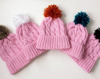 Pink Cable Knit Winter Hat