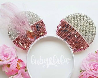 Great Gatsby Minnie Ears Silver Minnie Mouse ears with Charleston Detail Flapper Girl Minnie Mouse Ears Pink