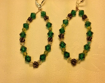 Emerald and Peridot Swarovski Dangles