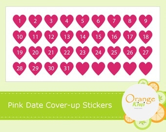 Pink Date Coverup Planner Stickers, Erin Condren Date Cover Stickers