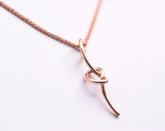 9ct/14ct/18ct  yellow/white/rose gold love knot necklace pendant
