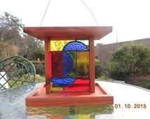 Stained Glass and Redwood Bird Feeder - Item #A16