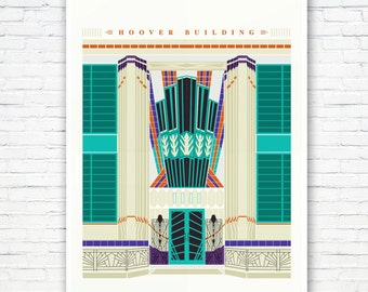 The Hoover Building: Art Deco London Illustrated poster print. Matte and Giclee Art Prints in A3 or A2 sizes. Wall Art, London Print