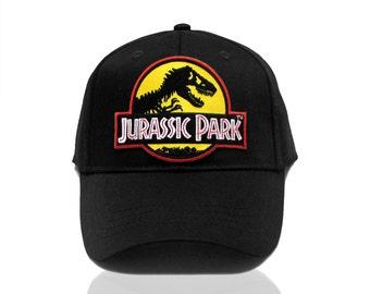 Jurassic Park Movie Logo Yellow Patch Baseball Adjustable Black Cap Hat