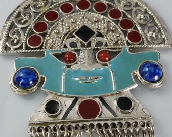 Vintage Runway Style Mayan Figural Necklace