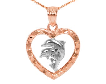 10k Rose Gold Heart Dolphin Necklace