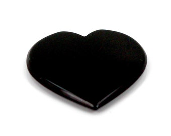 20x20 mm Flatback Heart Shaped Black Onyx Gemstone