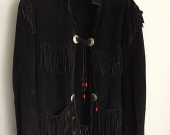 Western Style Vintage Black Genuine Soft Suede Jacket Fringed Men's Size Large.