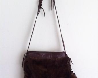 Handmade fur bag with cross body strap, Real brown mink crossbody handbag. Free shipping.
