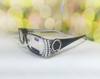 Reading glasses +2.00 searovski crystals .