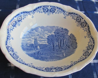 Vintage Blue and White Commemorative Bowl