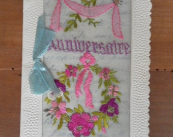 Birthday card embroidered vintage French written 1938